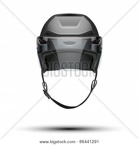 Classic black Ice Hockey Helmet with glass visor isolated on Background