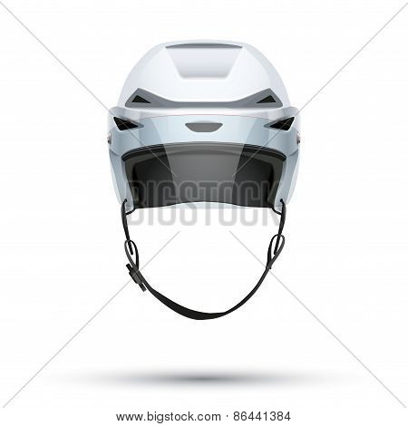 Classic white Ice Hockey Helmet with glass visor isolated on Background