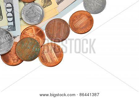 Coinsand dollar banknotes