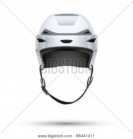 Classic white Hockey Helmet isolated on Background.