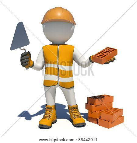 Worker in overalls holding trowel and red brick. Isolated
