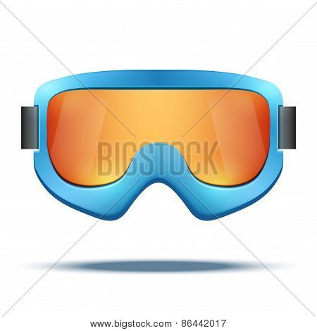 Classic vintage old school blue snowboard ski goggles with colorful glass.