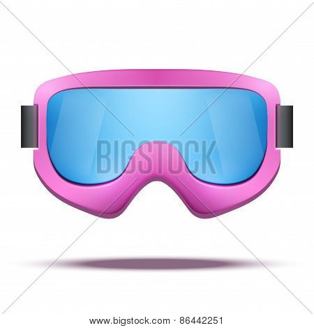 Classic vintage old school pink snowboard ski goggles with colorful glass.