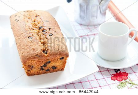 Plum cake with cocoa apple and fruit and nuts