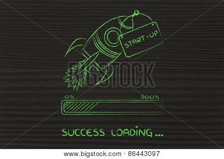 Rocket Illustration, Let Your Success Take Off (progress Bar Version)