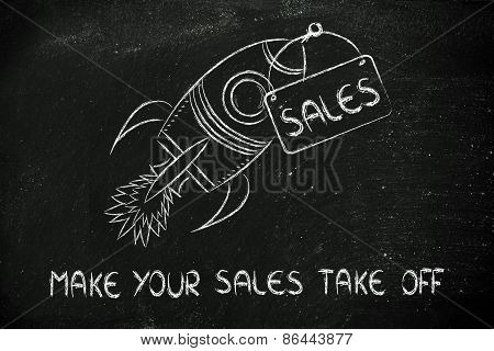 Rocket Illustration, Let Your Sales Take Off