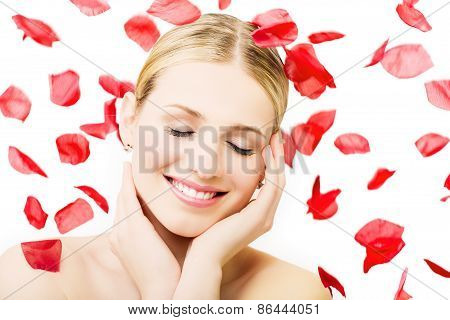 Woman Surrounded By Petals