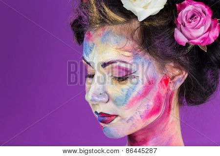 The creative, bright, color makeup