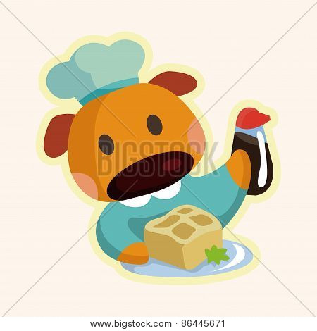 Animal Dog Chef Cartoon Theme Elements