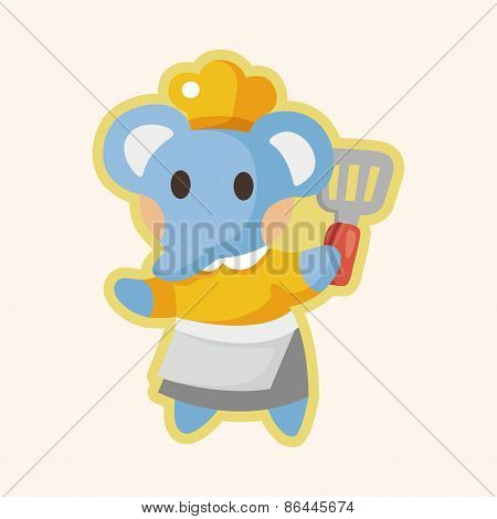 Animal Elephant Chef Cartoon Theme Elements