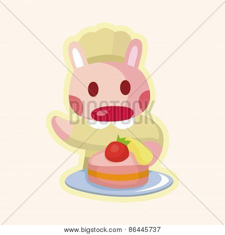 Animal Rabbit Chef Cartoon Theme Elements