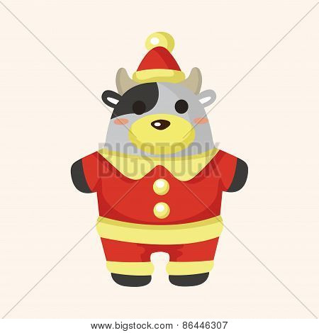 Animal Cow Cartoon Christmas Style Theme Elements