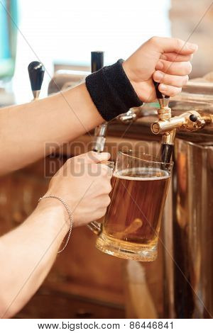 Barman pours fresh beer into the glass