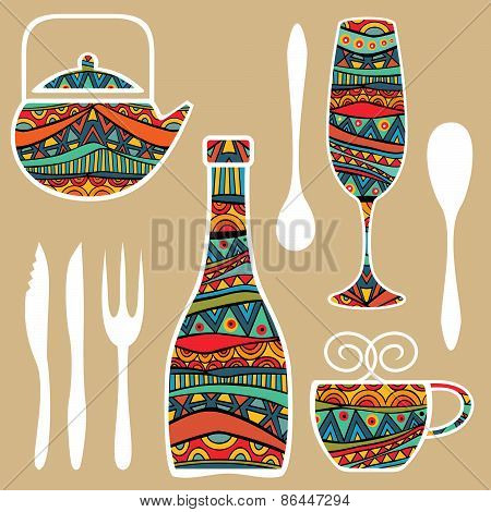 Food Background With Ornate Tableware
