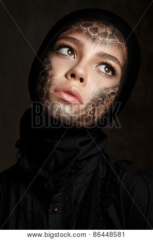Young Beautiful Woman With Faceart