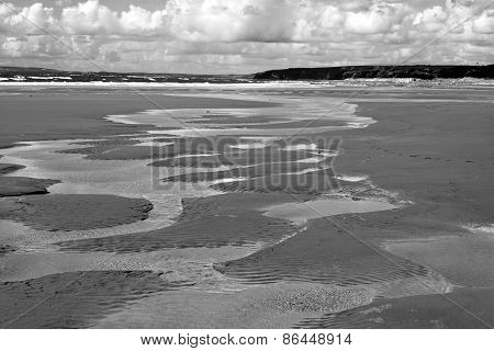 Beautiful Sandy Beach Rippled Water