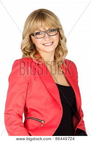 Blonde Woman In Red Jacket Looking On Camera (isolated On White)