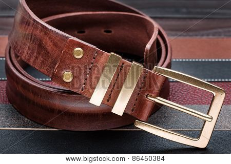Brown Men Leather Belt With Golden Buckle