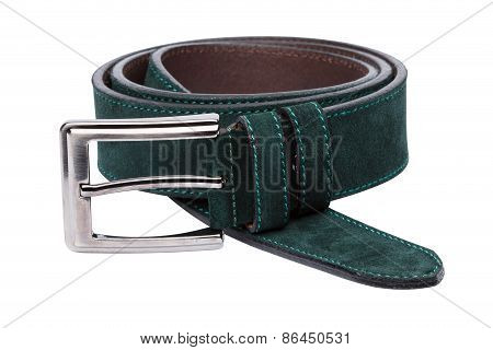 Green Men Leather Belt Isolated On White