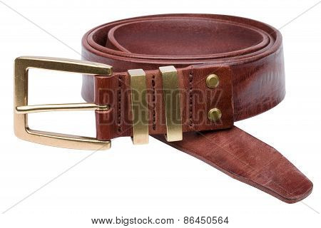 Brown Men Leather Belt Isolated On White