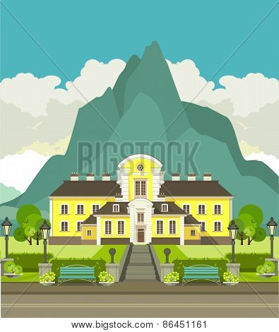 Hotel Is At  Foot Of The Mountain