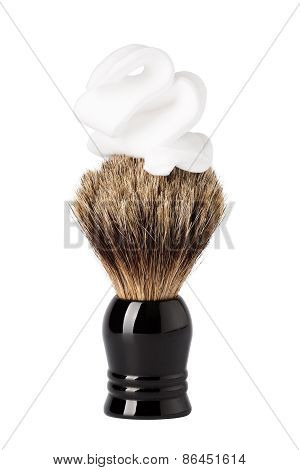 Shaving Brush With Foam Isolated On White