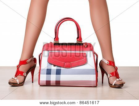Female Bag Between Beautiful Woman's Legs