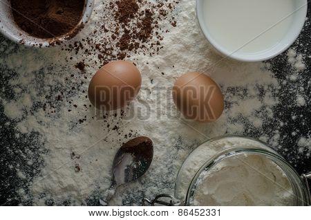 Home Eggs, Flour And Cocoa Powder
