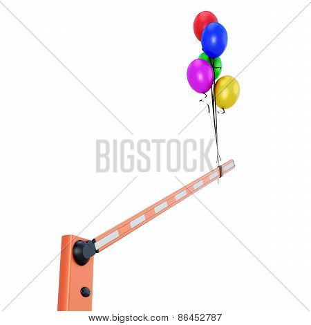 Barrier With Balloons Close-up