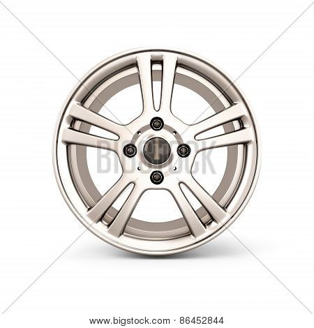 Alloy Wheel Rim Front View On A White