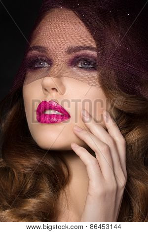 Portrait Of Young Beautiful Woman With Pink Lips