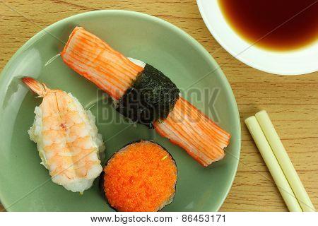 Shrimp Sushi Crab Stick Sushi And Shrimp Eggs Sushi With Shoyu Sauce