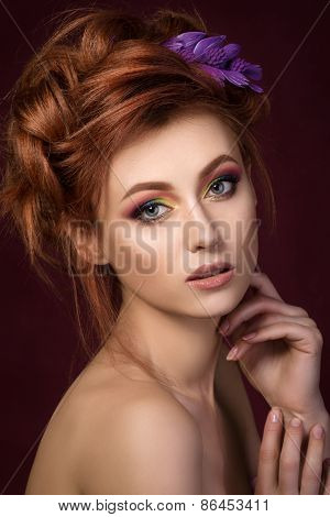 Portrait Of Beautiful Red Haired Woman With Purple Hair-slide