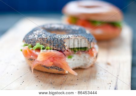 Bagels with salmon and fresh cream