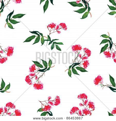 Pink Flowers Watercolor Seamless Vector Print