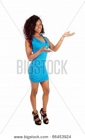 Black Woman Standing Blue Dress.