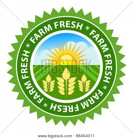 Farm fresh food label with sunny country background.
