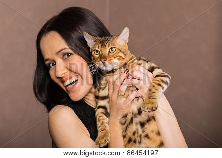 Beautiful woman with cat portrait