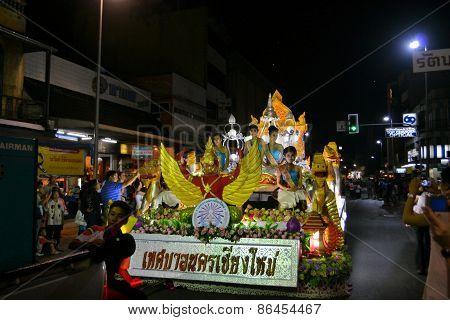 Loy Krathong festival parade for Yee Peng, Chiang Mai, Thailand