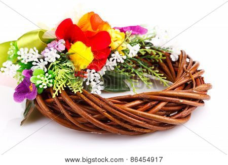 wreath of twigs and flower composition