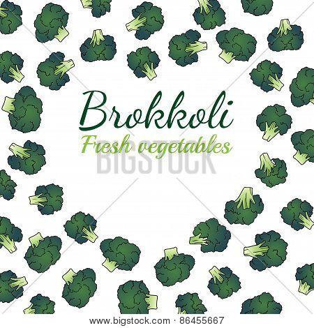 frash broccoli heart. vector lable for halthy food