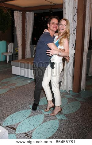 LOS ANGELES - MAR 26:  Christian LeBlanc, Lauralee Bell at the Young & Restless 42nd Anniversary Celebration at the CBS Television City on March 26, 2015 in Los Angeles, CA