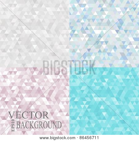 Abstract geometric backgrounds set consisting of light triangles.