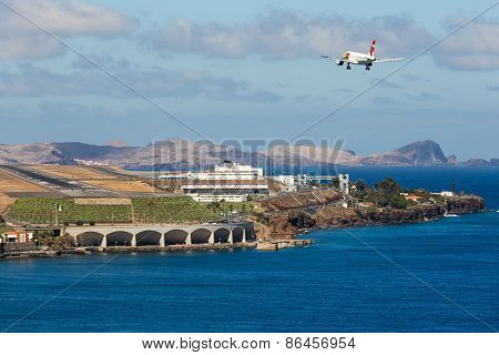 Boeing 737 Is Approaching Funchal Airport At Madeira, Portugal