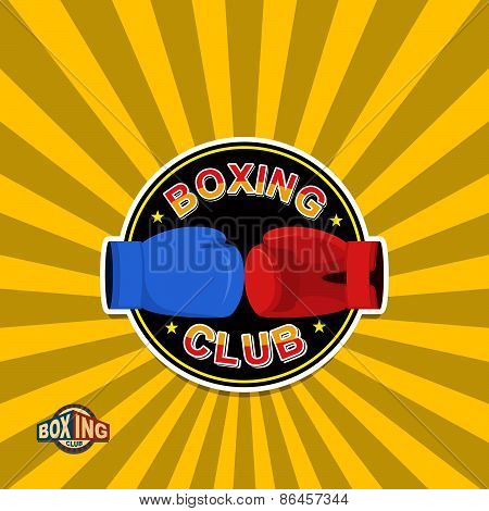 Boxing labels. Boxing gloves emblem Club
