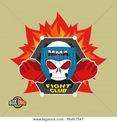 Sports shield emblem. Boxing logo skull. Logotype  boxing Club. Skull in boxing gloves and helmet, w