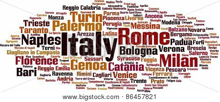 Cities In Italy Word Cloud