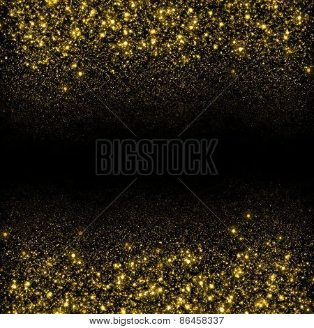 Gold sparkle glitter background. Glitter stars background. Sparkling flow background