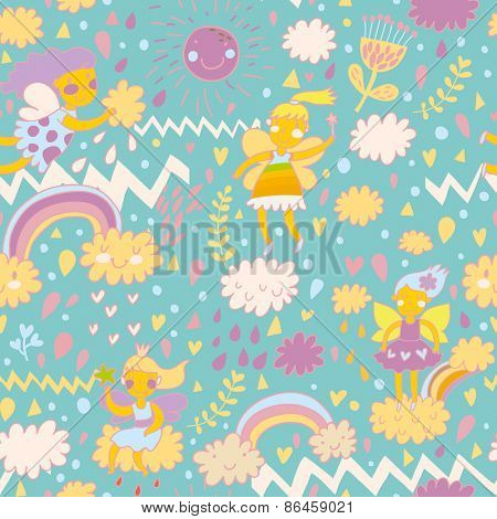 Childish bright seamless pattern with fairies on clouds in the sky with sun, rainbows, hearts and flowers. Seamless pattern can be used for pattern fills, web page backgrounds, surface textures