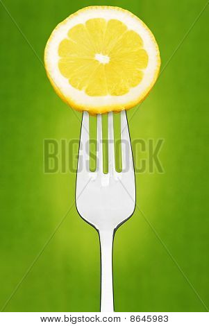 Lemon Slice on Fork